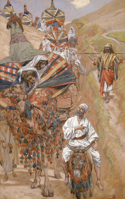 Art Prints of Rebecca Meets Isaac by the Way by James-Jacques-Joseph Tissot