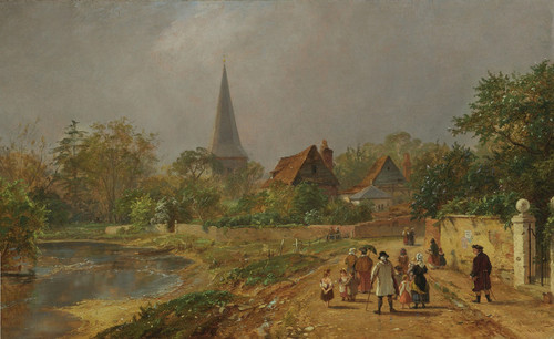 Art Prints of Going to Church, a Spring Morning in England by Jasper Francis Cropsey