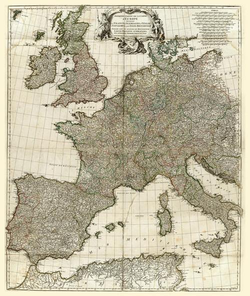 Art Prints of Europe I, 1754 (2603002) by Jean Baptiste Bourguignon Anville
