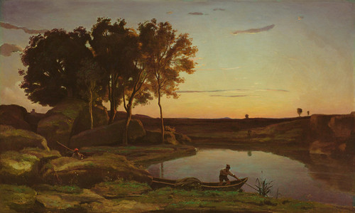 Art Prints of Landscape with Boat and Boatman by Camille Corot