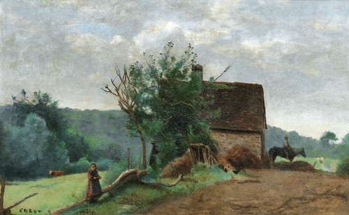Art Prints of Little Girl and a Cavalier in a Barnyard by Camille Corot