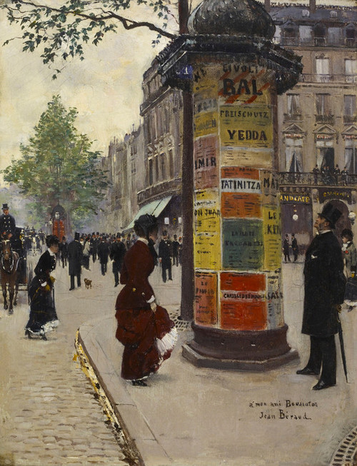 Art Prints of Paris Kiosk by Jean Beraud