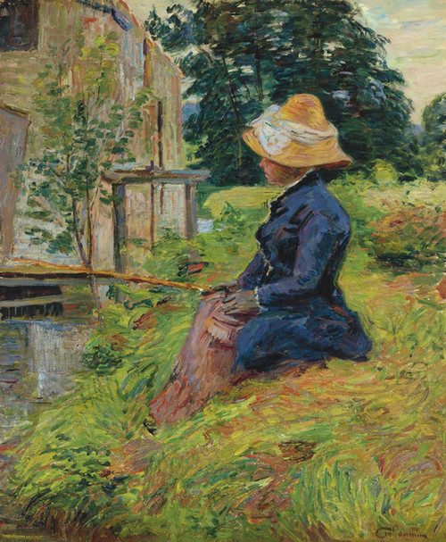 Art Prints of Madame Guillaumin Fishing by Jean-Baptiste-Armand Guillaumin