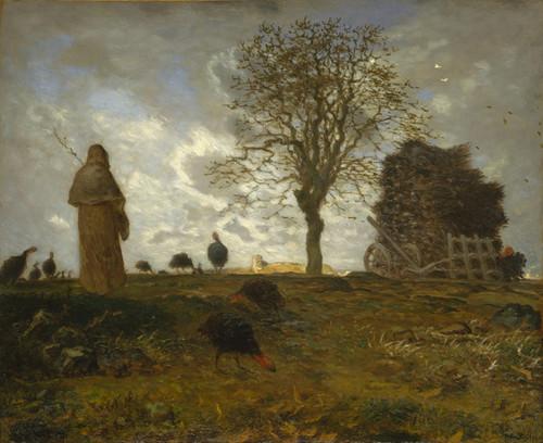 Art Prints of Autumn Landscape with a Flock of Turkeys by Jean-Francois Millet