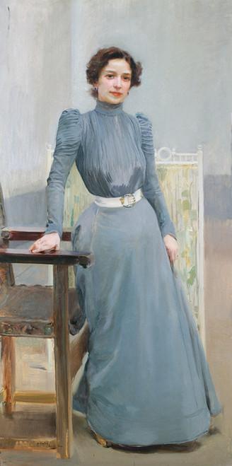 Art Prints of Clotilde in a Grey Dress by Joaquin Sorolla y Bastida