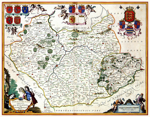 Art Prints of Leicester and Rutlandshire, 1646 (330) by Johannes Jannsonius