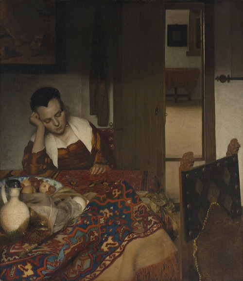 Art Prints of A Maid Asleep by Johannes Vermeer