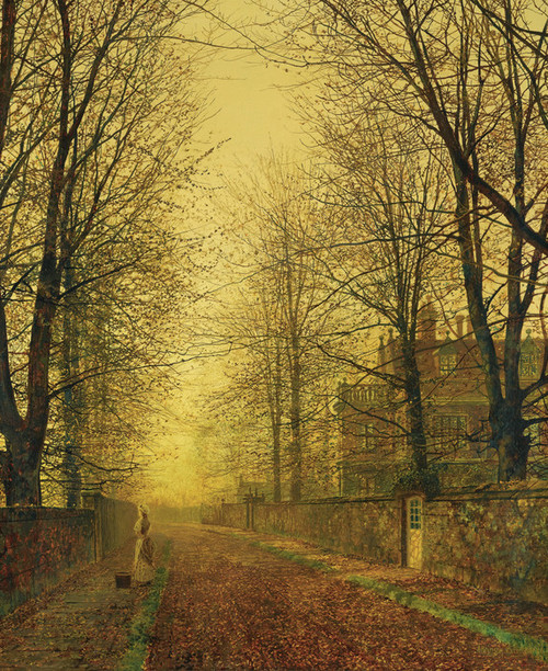 Art Prints of In Autumn's Golden Glow by John Atkinson Grimshaw