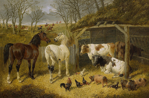 Art Prints of A Farmyard Scene with a Hunt in the Distance by John Frederick Herring