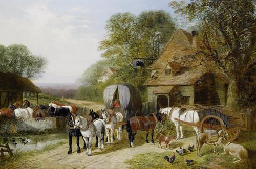Art Prints of Halt Outside the Bulls Head by John Frederick Herring