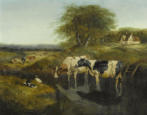 Art Prints of Landscape with Cows in a Pond by John Frederick Herring