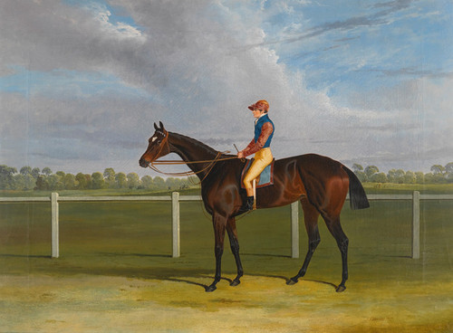 Art Prints of Bessy Bedlam, Bay Racehorse with Jockey up by John Frederick Herring