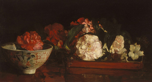 Art Prints of Flowers on a Japanese Tray on a Mahogany Table by John La Farge
