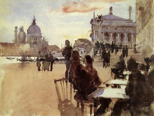 Art Prints of Cafe on the Riva Degli Schiavoni, Venice by John Singer Sargent