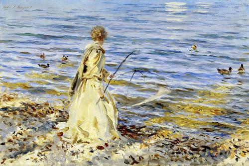 Art Prints of Girl Fishing at San Vigilio by John Singer Sargent