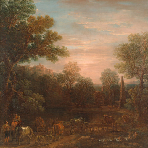 Art Prints of Classical Landscape, Evening by John Wootton
