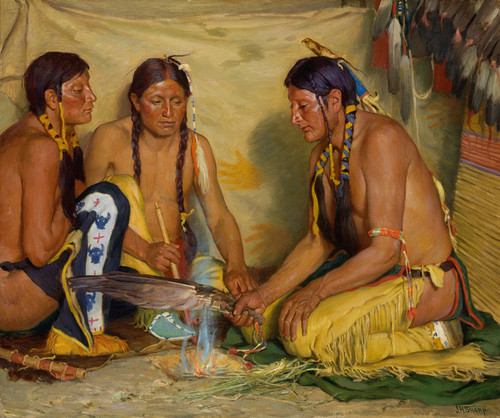 Art Prints of Making Sweet Grass Medicine by Joseph Henry Sharp
