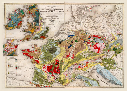 Art Prints of Central West Europa, 1844 (4807011) by Hughes and Karte