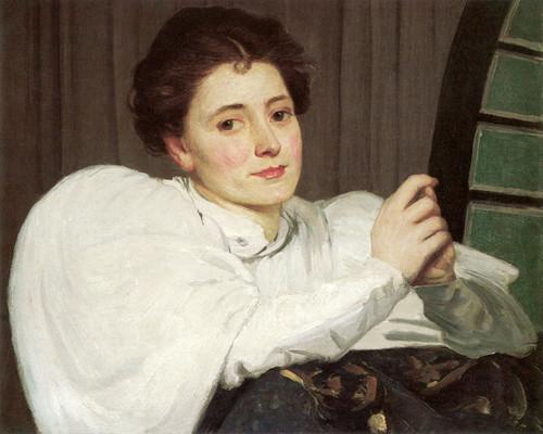 Art Prints of Lady in Front of a Fan Window by Julian Alden Weir