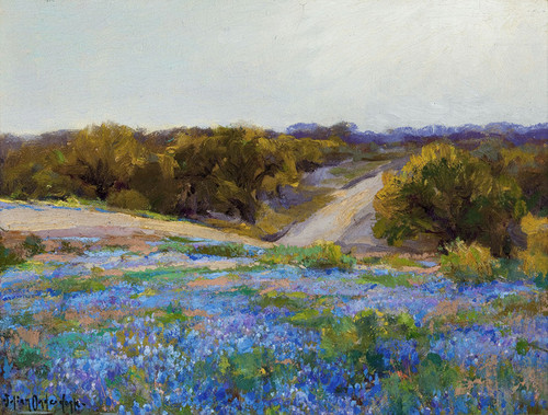 Art Prints of Bluebonnets at Late Afternoon by Julian Onderdonk