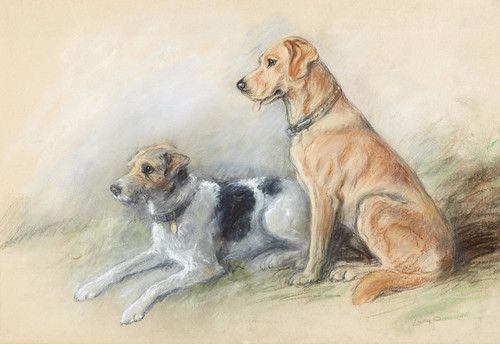 Art Prints of Best Friends, Terrier and Retriever by Lucy Dawson