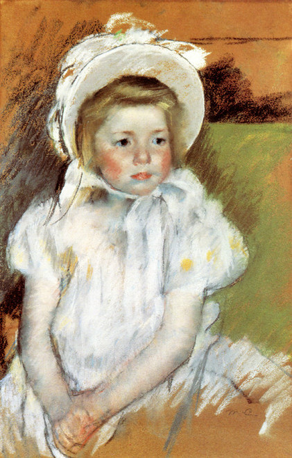 Art Prints of Simone in a White Hat by Mary Cassatt