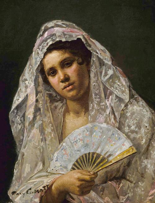 Art Prints of Spanish Dancer Wearing a Lace Mantilla by Mary Cassatt