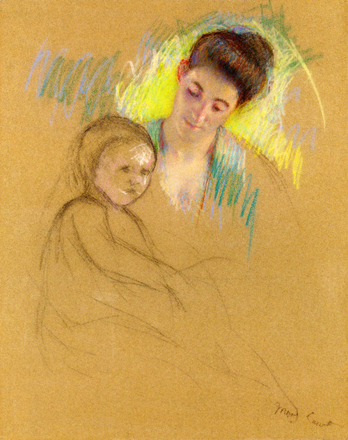Art Prints of Sketch of Mother Jeanne Looking Down at Her Baby by Mary Cassatt