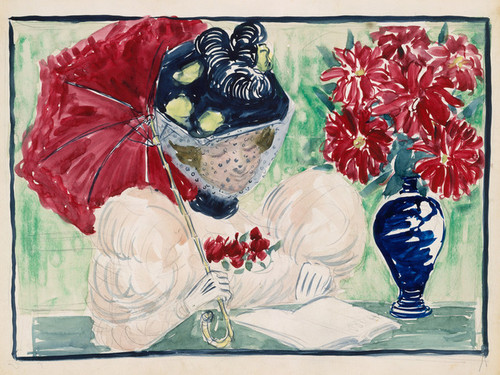 Art Prints of A Woman Reading a Book by Maurice Prendergast