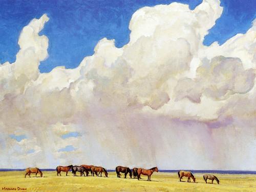 Art Prints of Prairie Shower by Maynard Dixon