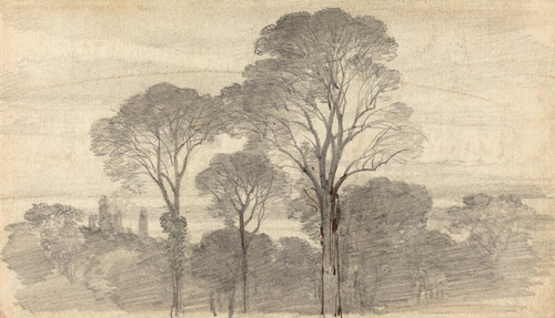 Art Prints of An Evening Landscape with Tall Trees by Myles Birket Foster