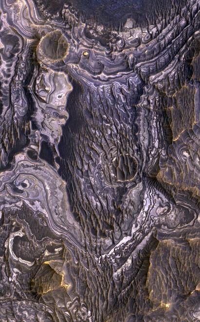 Art Prints of Bright Layered Deposits by NASA