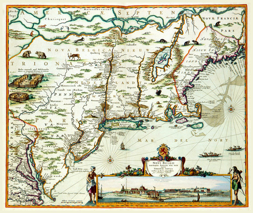 Art Prints of Map of New Netherland and New England 1684 (466) by Nicolaes Visscher