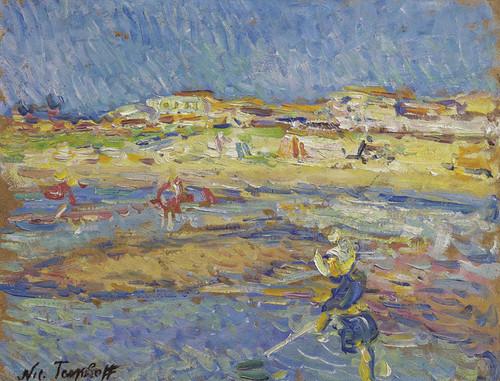 Art Prints of On the Beach, Soulac-sur-Mer by Nikolai Aleksandrovich Tarkhov