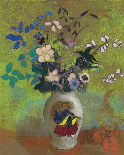 Art Prints of Bouquet in a Japanese Warrior Vase by Odilon Redon