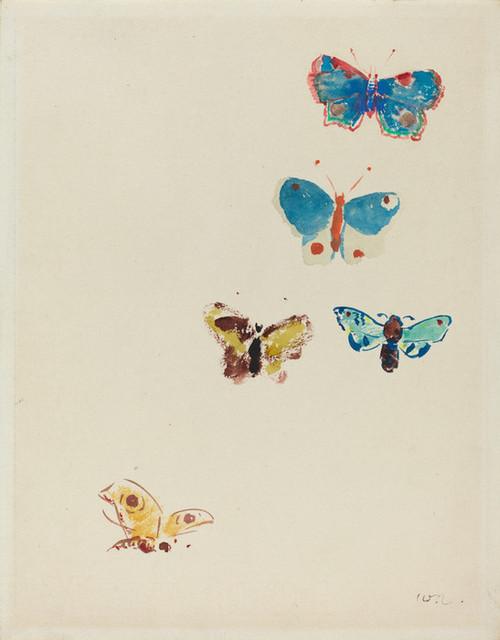 Art Prints of Five Butterflies, 1912 by Odilon Redon