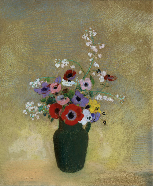 Art Prints of Large Green Vase with Mixed Flowers by Odilon Redon