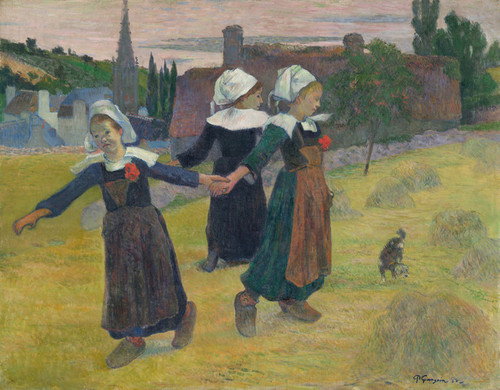 Art Prints of Breton Girls Dancing, Pont Aven by Paul Gauguin