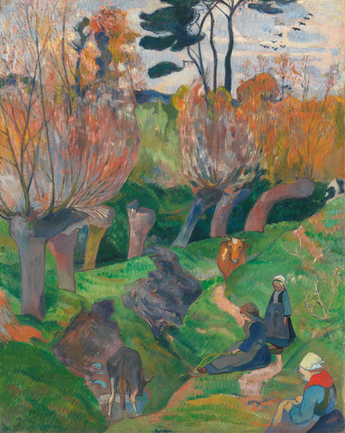Art Prints of Brittany Landscape with Cows by Paul Gauguin
