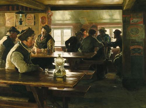 Art Prints of In Merchant Winther's Tavern, Skagen by Peder Severin Kroyer