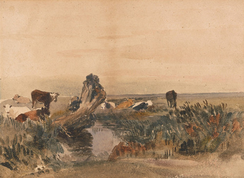 Art Prints of Cattle by a Stream by Peter De Wint