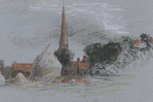Art Prints of Landscape Study, a Haystack Near a Church by Peter De Wint