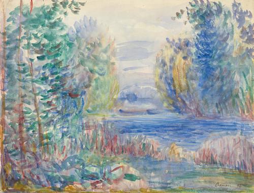 Art Prints of River Landscape, 1890 by Pierre-Auguste Renoir