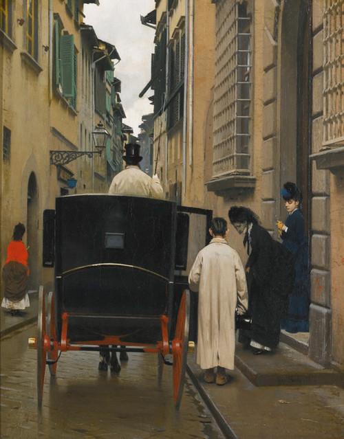 Art Prints of Boarding the Car by Raffaello Sorbi
