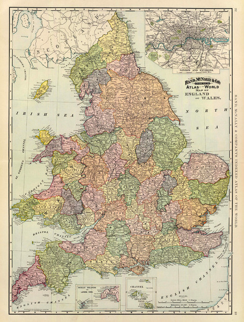 Art Prints of England and Wales, 1897 (3565007) by Rand McNally and Company