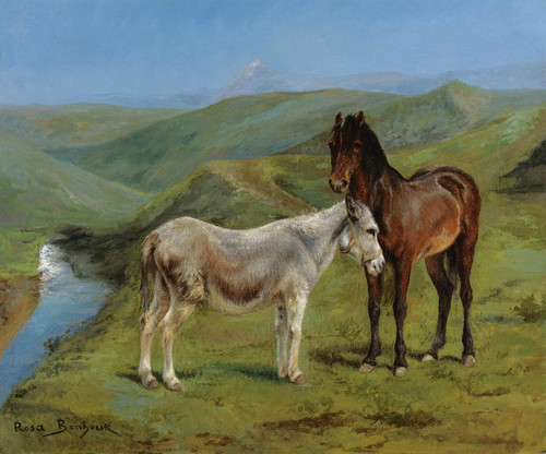 Art Prints of A Pony and a Donkey in a Mountain Landscape by Rosa Bonheur