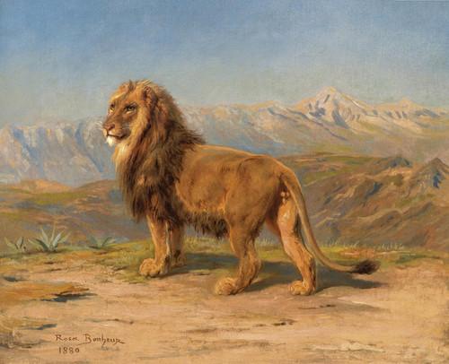 Art Prints of Lion in a Mountainous Landscape by Rosa Bonheur