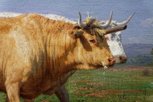 Art Prints of Oxen Ploughing in Nevers, detail by Rosa Bonheur