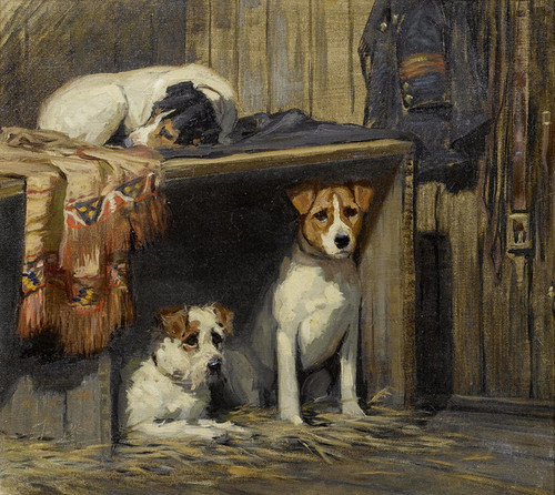 Art Prints of Ready and Waiting, Fox Terriers by Samuel Fulton