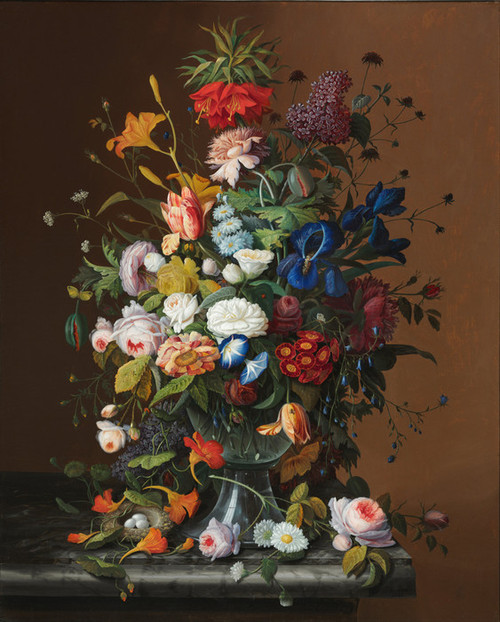Art Prints of Flower Still Life with Bird's Nest by Severin Roesen